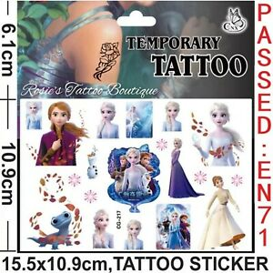 FROZEN 2 Temporary Tattoos 🇬🇧 Girls Kids Party bag fillers Loot bags Favours