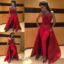 Red Pant Suit Train Evening Dress Nondetachable Sleeveless Formal Party Gown