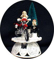 Off Road Dirt Bike Motorcycle wedding Cake topper  Red Honda Racing Track Funny