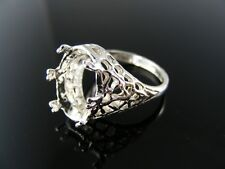 R120 RING SETTING STERLING SILVER, SIZE 6.5,  14x10 MM OVAL  FACETED STONE