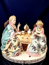 "Porcelain Miniature ""Tea Time"" group of 2 female Volkstedt Rudolstadt late 19th"