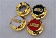 4x BBS RS RC GOLD ! Center Caps Hex Nuts 15 16 17 Inch NEW !