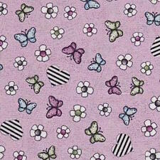 """On top of the world Butterflies Flowers hearts 100% cotton 43"""" fabric x yard"""