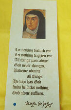 Saint Teresa of Avila Prayer Card/Relic ( Image 2), New from Spain