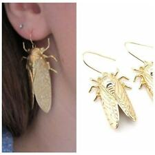 Gothic Cicada Insect Design Carved Gold Hook Jewelry Dangle Earrings