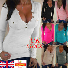 UK Sexy Women Lady Blouse Button Casual Shirt Plunge V Neck Fitted Top Plus Size