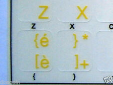 High Quality ITALIAN TRANSPARENT Keyboard Stickers Yellow Letters Fast Postage