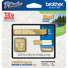 "Brother TZMQ835 1/2"" white on satin gold TZ tape PT1400 PT2730 PT18R PT2730VP"
