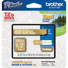 Brother TZMQ835 12mm white on satin gold P-touch PT1005 PT1090 PT7100VP PT9700