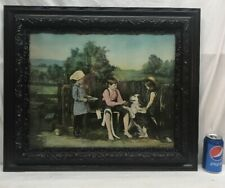 Vtg Painted Photo YOUNG VETERINARIAN Boy Girls Bandage Dog Paw Print Framed