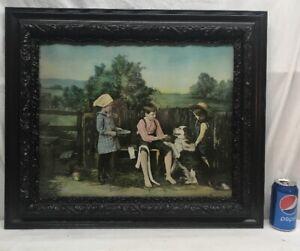 Vtg Painted Photo YOUNG VETERINARIAN Boy Girls Bandage Dog Paw Print Framed