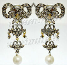 3.45ct Rose Cut Diamond Pearl Antique Victorian Look 925 Silver Dangler Earring