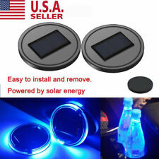 2PCS LED Solar Cup Pad Car Accessories Light Cover Interior Decoration Lights US