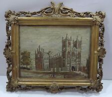 Needlework Picture of Westminster Abbey Framed in an Antique C19th Gilt Frame