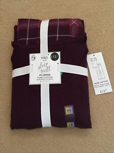 M&S PJs Short Sleeved Top Full Length Bottoms Purple Mix Size 6-8 New With Tags