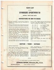 1956 Evinrude Sportwin 10  Outboard Boat Motor Parts List original