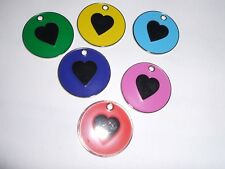 COLOURED NICKEL 'HEART' PET TAGS - 6 COLOURS - ENGRAVING & POSTAGE FREE
