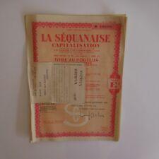 10 titres au porteur 5000 Francs LA SEQUANAISE capitalisation 1948 XXe PN France