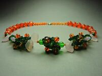 Fabulous Vintage Bohemian Multi-colored Rare Glass Bead Floral Necklace