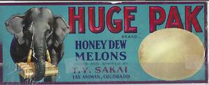 """""""HUGE PAK"""" Vintage *FRUIT CRATE LABEL* Ex Condition *ELEPHANT* Holding MELON BOX"""
