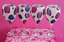 4 Vasos De Brillo Multicolor Leopardo Vino Boda Cumpleaños Regalo De Navidad Novia