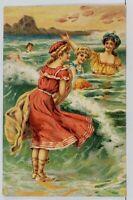 Bathing Beauties Victorian Swimsuits Ocean Scene Embossed Postcard C17