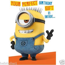 "MINIONS ""PERFECT"" BIRTHDAY CARD WITH 3D TEMPLATE**FREE 1ST CLASS P&P**"