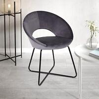 Velvet Sofa Dining Chair Metal Legs Reception Guest Chair Office Kitchen Grey UK