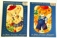 Nos Pair of Vintage Meyercord Transfer Decals 870 E & G Gardening Bears Boy Girl