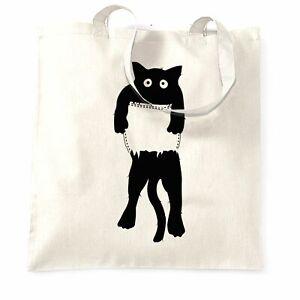 Funny Cute Cat Beuteltasche Tasche Schwarz Kätzchen in Tasche Neuheit Pet Geschenkidee