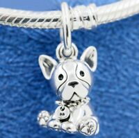 925 Sterling Silver French Bulldog Dangle Charm Bead Fit Snake bracelet 2019 NEW