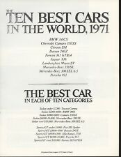 Road & Track Article Reprint from August 1971 Ten Best Cars In The World 1971