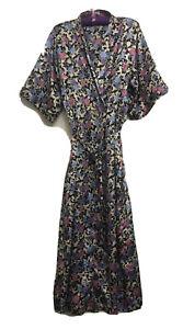 Vintage Givoni Black Floral Robe Tie  Kimono Size L  Nightgown Bath  Satin Style