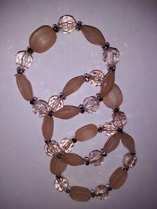 Bracelet set of three Peach and silver bead stretch NEW