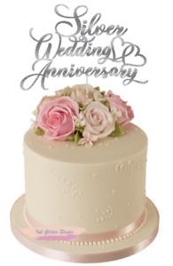 Silver Wedding Anniversary Glitter Cake Topper Decoration 25th Anniversary
