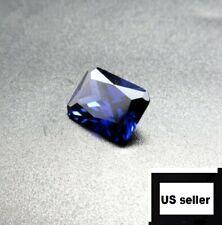 Unheated Dazzling 9.08ct Blue Sapphire 10X14MM Diamond Emerald Loose Gemstone A+