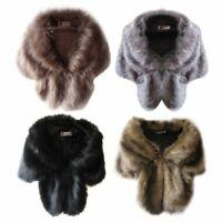 Winter Warm Noble Bridal Wedding Faux Fur Long Shawl Stole Wrap Shrug Scarf Top