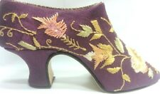 Miniature Resin Shoe Purple with a green floral embroidery design vintage