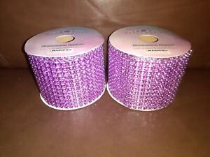 Set of Two Light Pink Bead Mesh 2.5in Ribbon Each 3 Yards Long