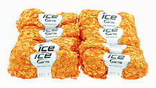 Pack of 8 x BUTTERFLY YARNS by Ice Yarns. Bright orange. No.42096 + free pattern