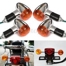 4x Motorcycle Amber Chrome Bullet Front Rear Turn Signal Blinker Indicator Light