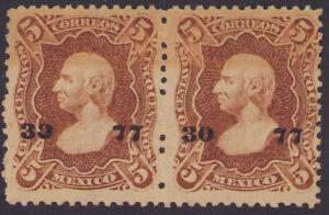 dd47 Mexico #112 5ctv PS Wmk Pair (Oaxaca) 30-77 Mint Original Gum est $100-200