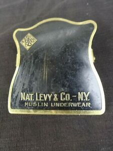 Vintage Brass & Enamel Large Paper Clip NAT. LEVY & CO. N.Y. Made by Eusermann