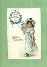 Lovely GIRL HOLDS BOUQUET Beautiful Vintage 1912 German-Made BIRTHDAY Postcard