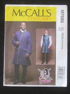 McCALL'S PATTERN - 7585 MEN'S COSTUME COAT BACK GODET VEST YAYA HAN 46-52 UNCUT