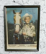 VINTAGE 1950's ROY ROGERS TRIGGER REPUBLIC PICTURES PROMO COLORED PHOTO IN FRAME