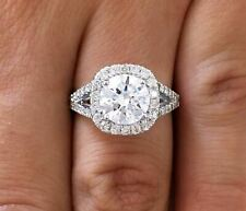 3.00 ct D/SI1 Round Cut Diamond Cushion Halo Engagement Ring 14K White Gold
