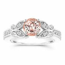 Morganite Butterfly Engagement Ring Certified 1.08 Carat 14K White Gold