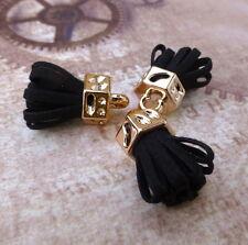 Paquete De 5 Negro Gamuza Borla Colgantes Oro Plateado Con Borla encantos