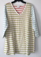 NEW J. JILL M L XL Top Knit Tunic Button Back 3/4 Tab-Slv Blue Green Pink Stripe